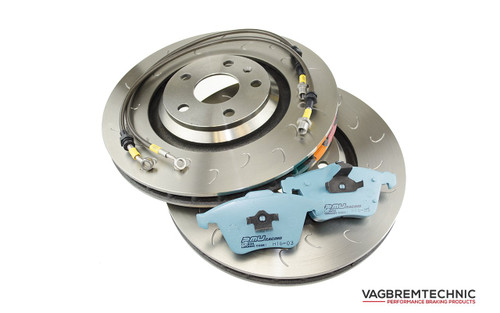 Vagbremtechnic Front Brake Package 'J' Hooked Discs, Project Mu H16 Pads & Braided Front Lines 1