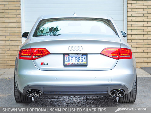 AWE TUNING AUDI B8 S4 TOURING EDITION EXHAUST - Chrome Silver 90mm Tailpipes