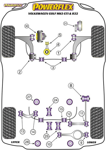 powerflex black upper engine mount insert - golf mk5 gti & r32 -  pff85-531blk  ‹ ›