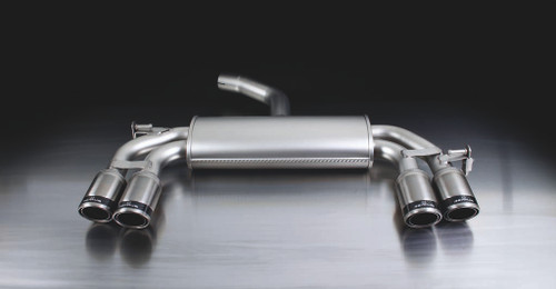 Remus Rear Silencer Left/Right with 4 tail pipes Ø 84 mm Carbon Race, angled, carbon ring - Scirocco Mk3 1.4 TSI 118 kW CAVD 2008-