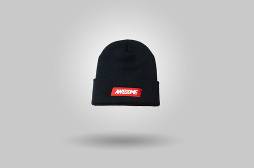 Awesome Beanie Hat - Black / Red