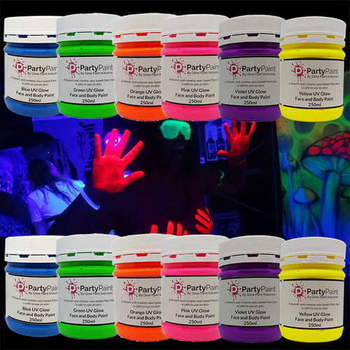 Bulk Buy UV Glow Face Body Party Paint Jars