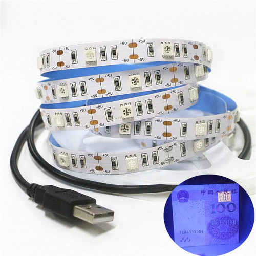 USB UV Light strip 2 metres long with USB connector.