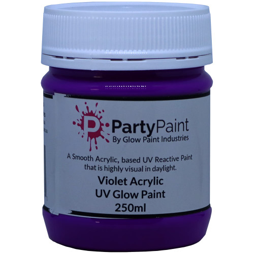 Violet UV Ultra Violet Glow Paint with the extra protection of Acrylic.