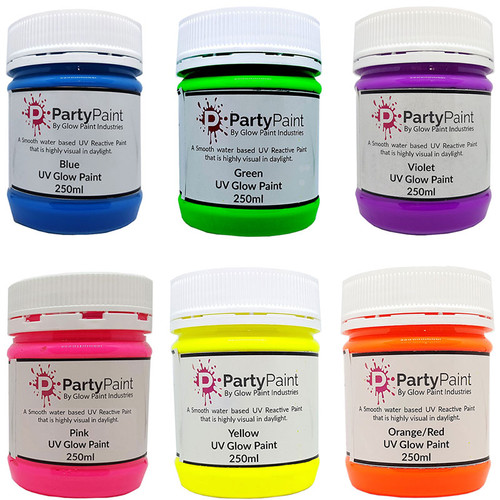 UV Glow Paint 250ml Jars six colors