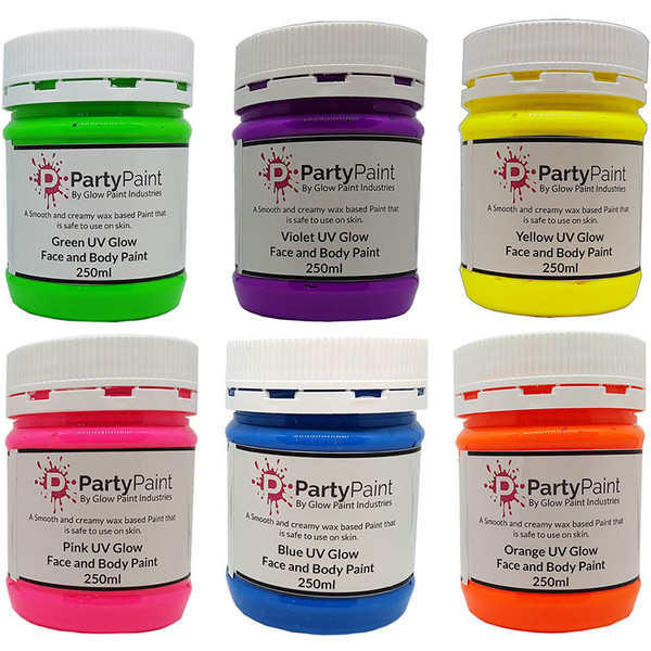 UV Glow Face and Body Paint Six pack Deal