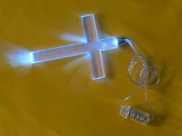 Blue LED Crucifix Necklace