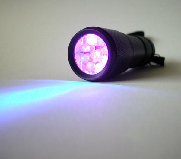 365 - 370nm UV Black Light flash light switched on.