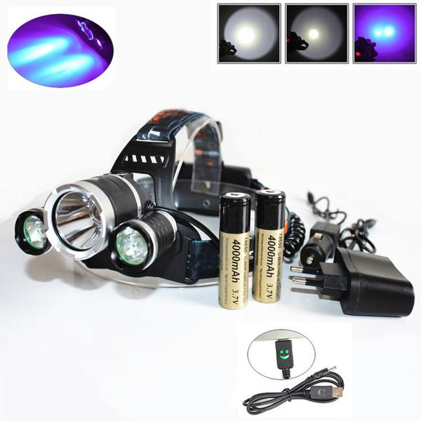 UV LED Headlamp Headlight With Battery Kit