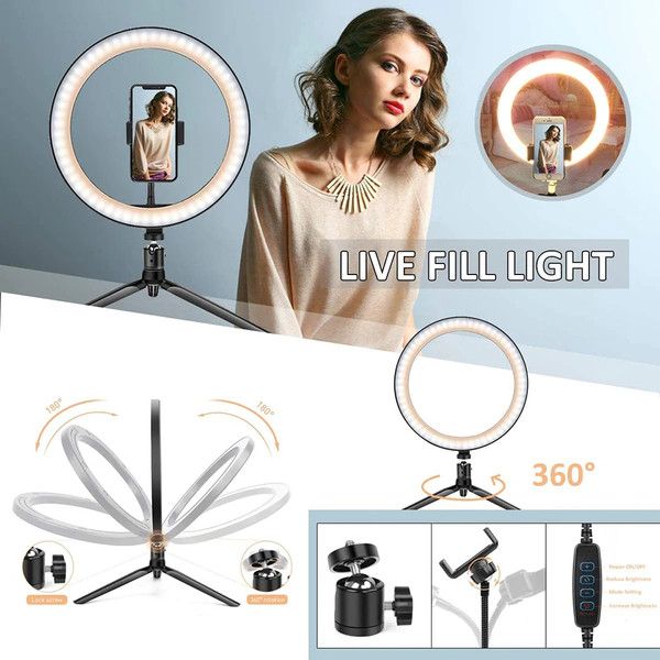Ring Light setup with mobile phone