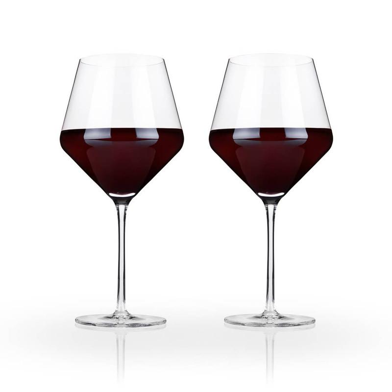 Raye Crystal Burgundy Wine Glasses by Viski - Set of 2