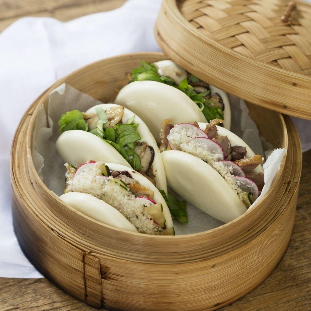 Gourmet Pekin duck bao with mediterranean hoisin sauce recipe