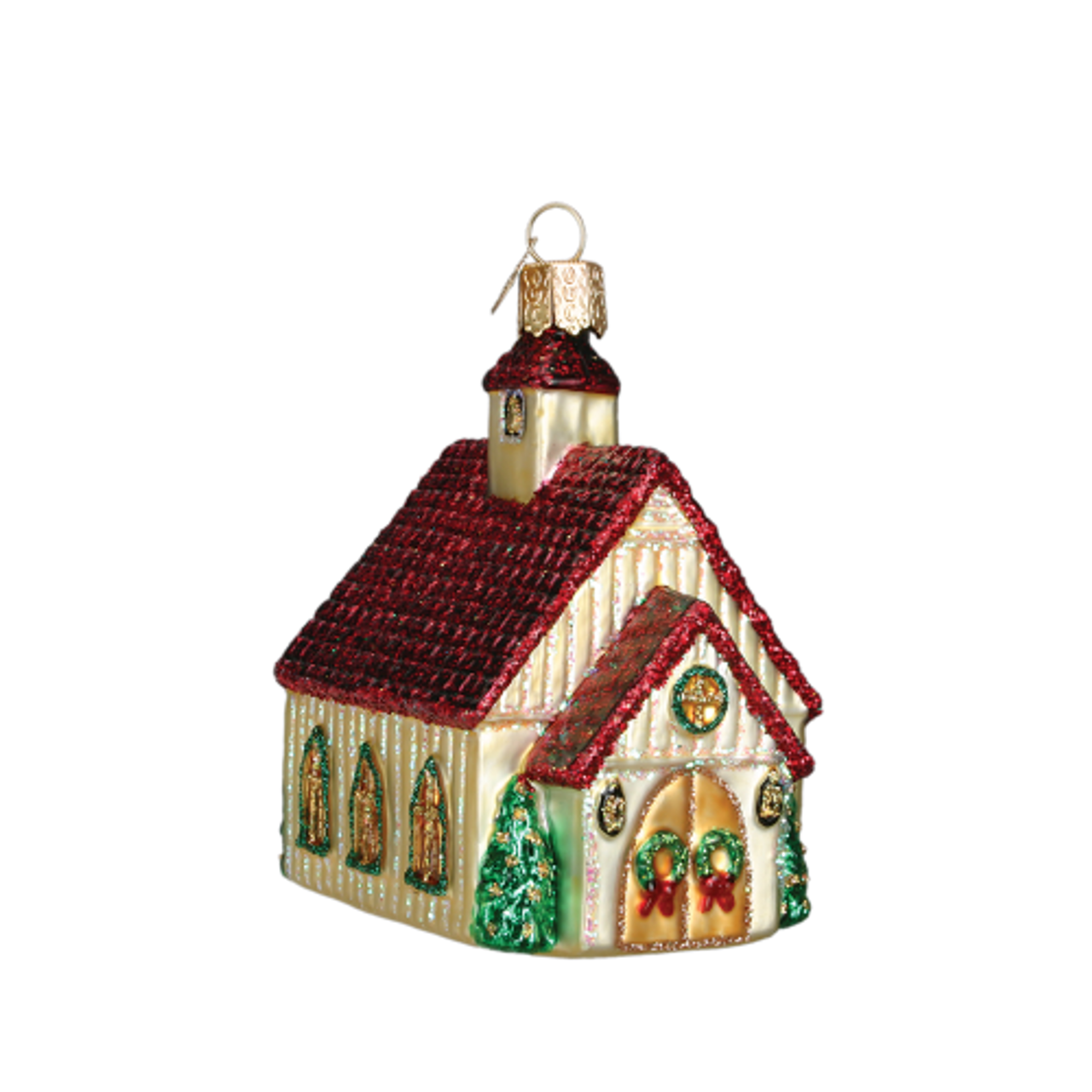 Old World Christmas Country Church Snow Ornament 20095