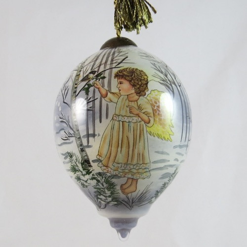 Winter Angel Ornament Ne'Qwa Art Hand-Painted Glass 7151130 front