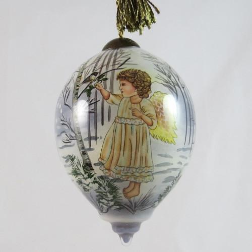 Winter Angel Ornament Ne'Qwa Art Hand-Painted Glass 7151130 front