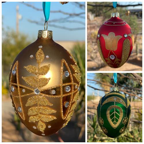 Dept 56 Easter Egg Glass Jeweled Embellished Ornament Decoration 4047008