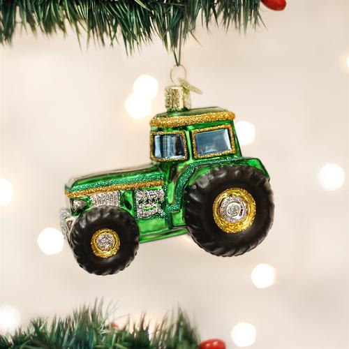 Old World Christmas Green Yellow Farm Tractor Ornament 46006 display