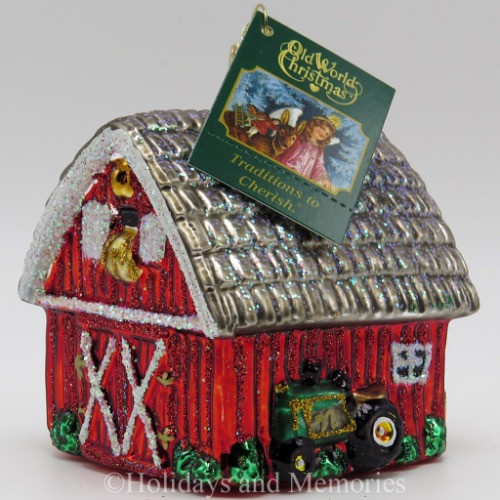 Red Barn Farm Building Merck Old World Christmas Ornament 20014