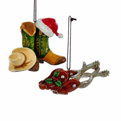 Kurt Adler Western Christmas Cowboy Cowgirl Boot Spur Ornaments C6688