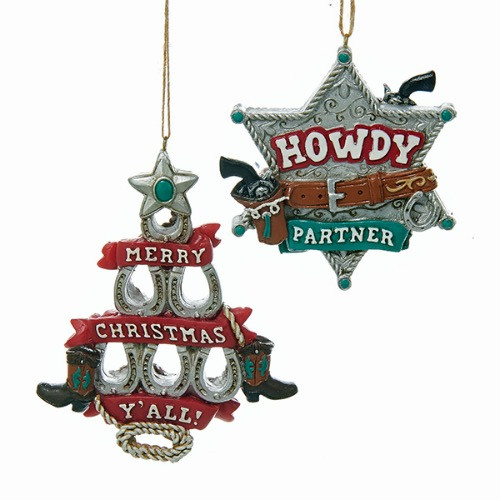 Horseshoe Christmas Tree.Kurt Adler Western Horseshoe Tree Sheriff Badge Ornaments J8330