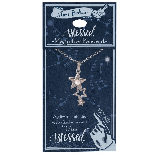 AngelStar I Am Blessed Falling Stars Medallion Pendant Necklace 13887