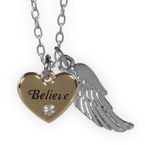 AngelStar Guardian Angel Heart Pendant Believe Necklace 16043