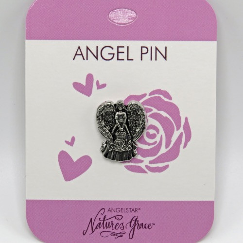 AngelStar Love Rose Natures Grace Silver Tone Angel Lapel Pin 15935