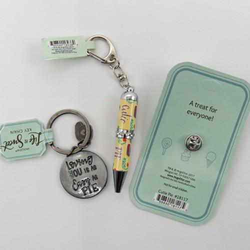 AngelStar Life is Sweet Pie Slice Key Chain Lapel Pin Pen set 18023