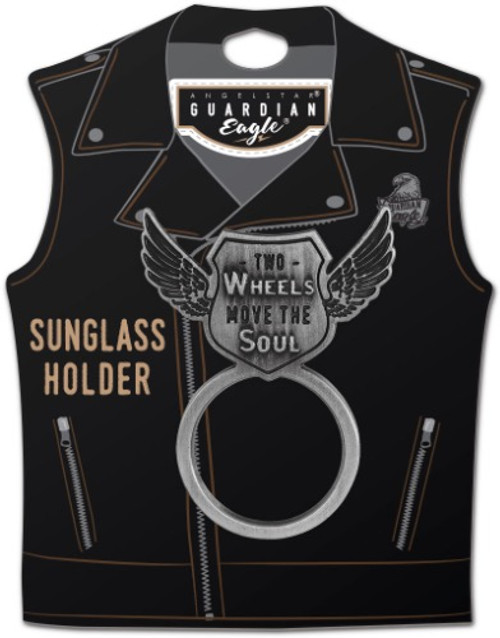 AngelStar Wheels Move the Soul Biker Motorcycle Sunglass Holder Pin 17524