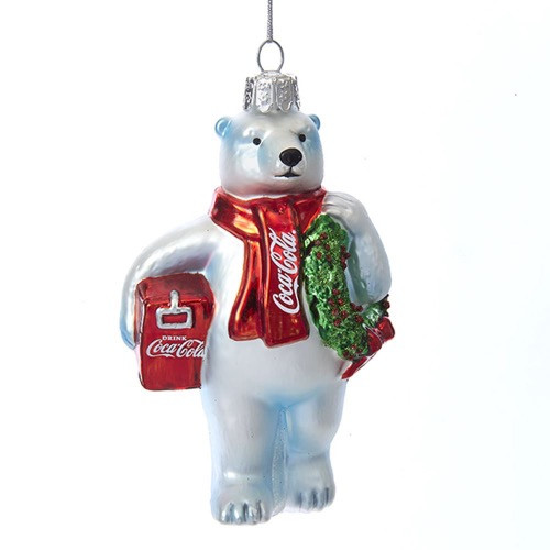 Kurt Adler Coca Cola Polar Bear Wreath Cooler Glass Ornament CC4162