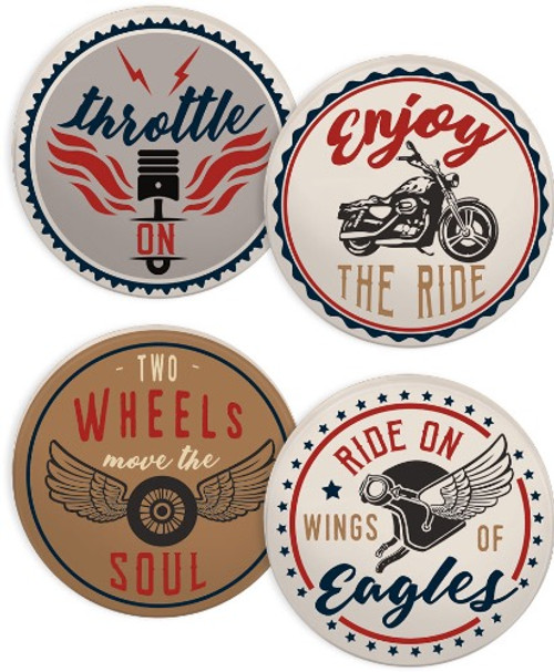 AngelStar Guardian Eagle Motorcycle Home Coasters Assorted 17402 Set