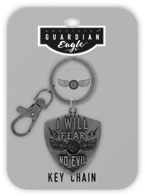 AngelStar Guardian Eagle Faith I will Fear No Evil Biker Key Chain 17504