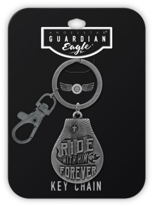 AngelStar Guardian Eagle Faith Ride with him forever Biker Key Chain 17505