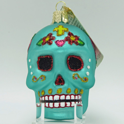 Old World Christmas Day of the Dead Sugar Skull Teal Ornament 26069 front