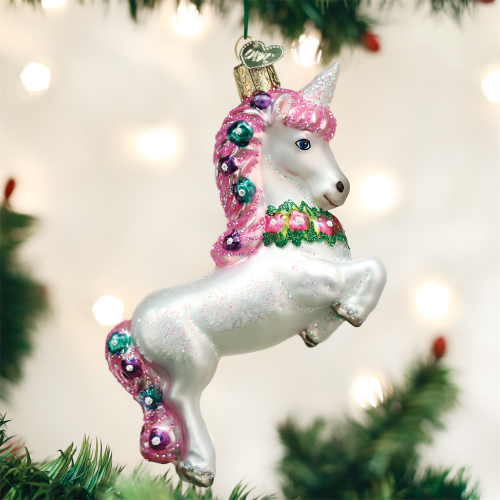 Merck Old World Christmas Prancing Unicorn Ornament 12472