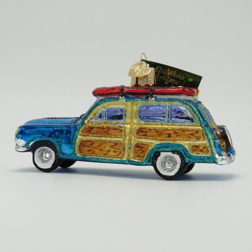 Old World Christmas Surfboard Woody Station Wagon Ornament 46071 left