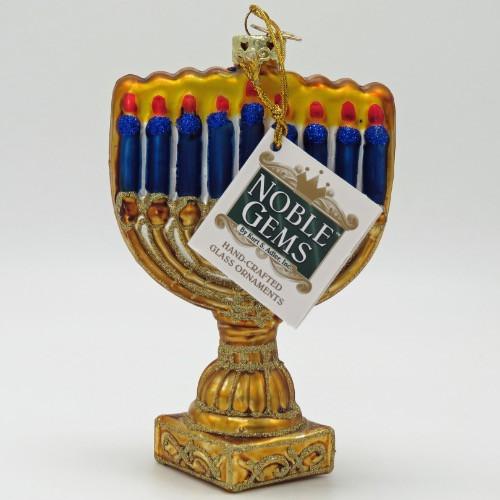 Kurt Adler Jewish Menorah Hanukkah Christmas Glass Ornament C1739