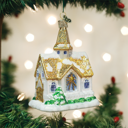 Old World Christmas Cathedral Hometown Church Worship Ornament 20105 display