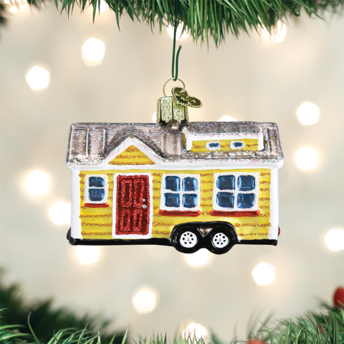 Old World Christmas Tiny House Mobile Home Travel Ornament 20106