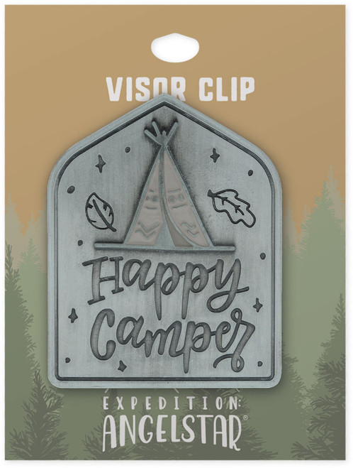 AngelStar Happy Camper Beauty Nature Enamel Car Visor Clip 10971 tag