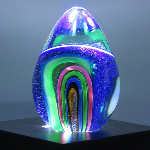 Glass Eye Studio Dichroic Egg Paperweight Infinity 268_1L