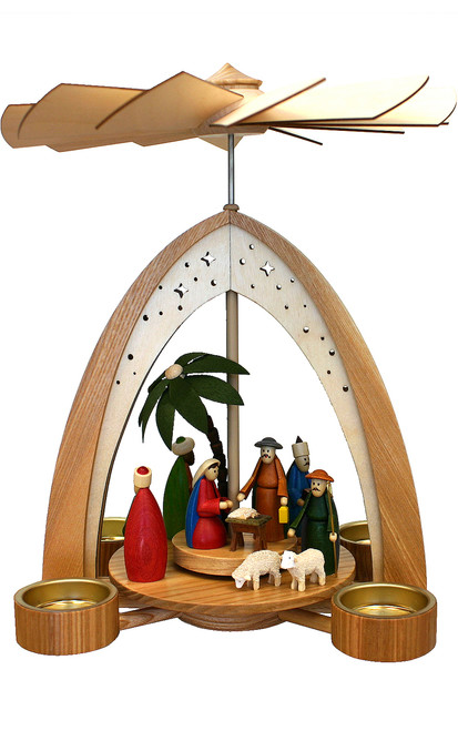 Dregeno Seiffen Nativity Christmas Pyramid Arch Tea Lite Candles 085-265BT