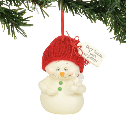 Department 56 Snowpinion Dear Santa I can Explain Wine Ornament 6003276