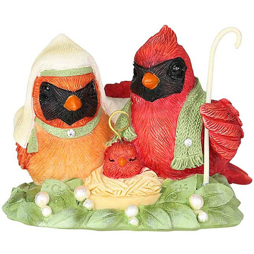 Heart of Christmas Holy Family Nesting in the Manger Cardinal Bird Figure 6003891