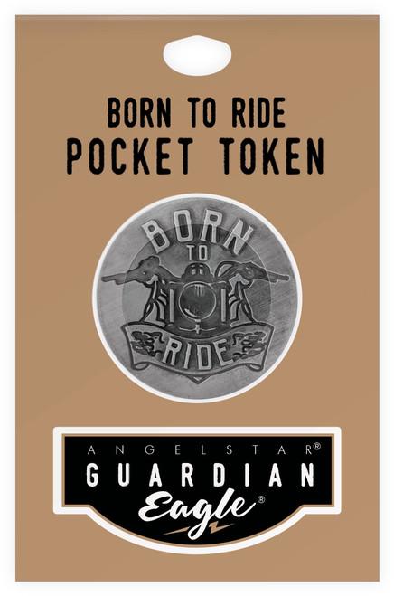 Guardian Eagle Born To Ride Throttle On Biker Motorcycle Pocket Token 17442 package