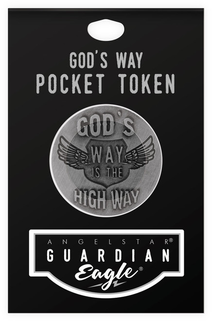Guardian Eagle Faith Gods Way is the High Way Biker Motorcycle Pocket Token 17483 package