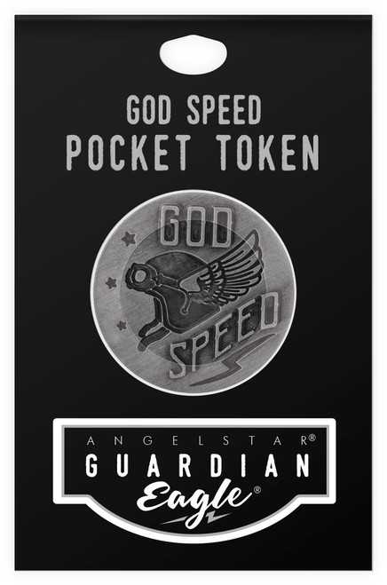 Guardian Eagle Faith God Speed I am the Way Biker Motorcycle Pocket Token 17485 package