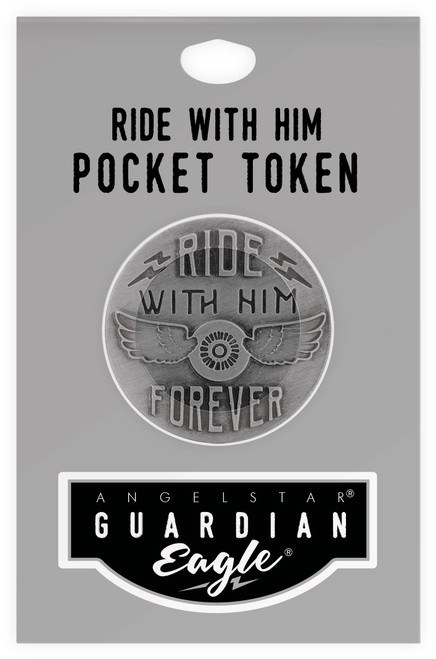 Guardian Eagle Faith Ride with Him Forever Biker Motorcycle Pocket Token 17486 package