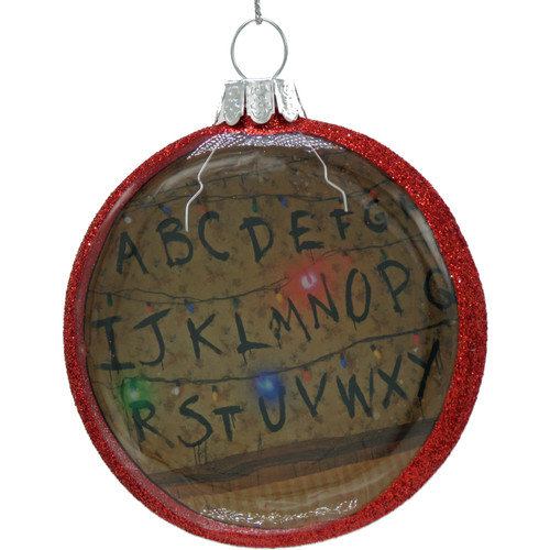 Kurt Adler Stranger Things Light String disc Glass Ornament STR4182 Ornament front