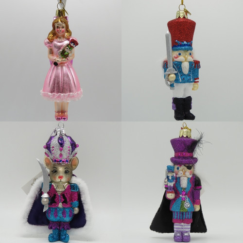 Kurt Adler Noble Gems Nutcracker Suite Ornament set Clara Prince Mouse King Drosselmeyer NB1248 collage